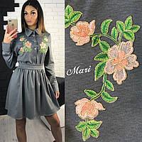 Платье приталенное с цветами из вышивки мини трикотаж 4 цвета 2SMmil1142