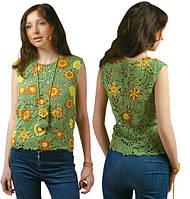 Блуза зелено-желтая из соединенных плотных мотивов