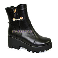 Зимние женские кожаные ботинки на утолщенной подошве
