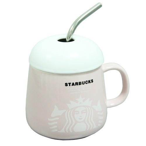 Чашка керамическая с крышкой ложкой-трубочкой Starbucks 350 мл.