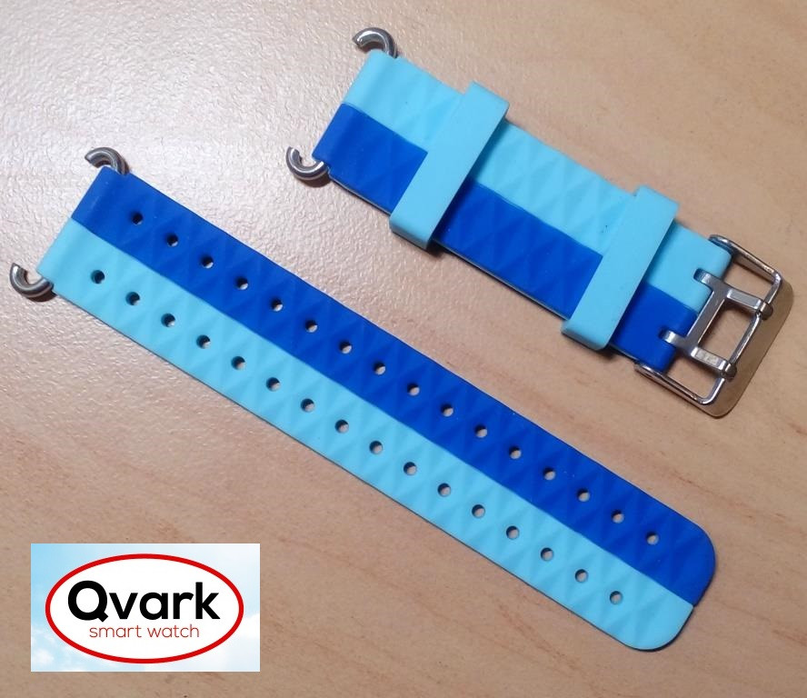 Ремешок силиконовый двухцветный (синий с голубым) Q60 Q70 Q80 Q90 Q100 Q100s Q101 Q750., фото 1