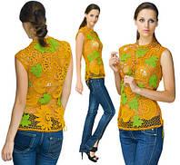 Блуза светло-коричневая из соединенных сеткой  плотных мотивов