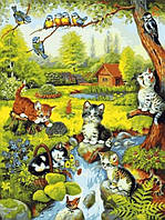Картины раскраски по номерам 40×50 см. Котики Художник Джейн Мадай