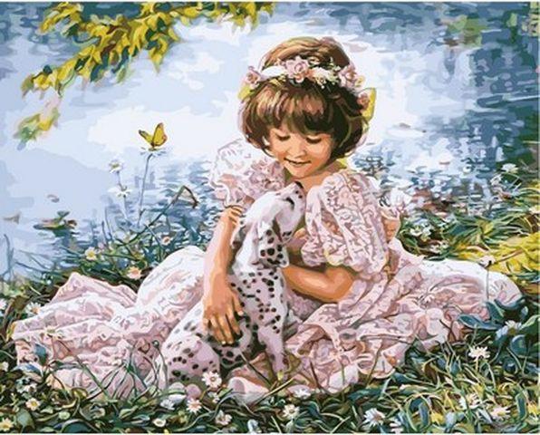 Раскраски по цифрам 40×50 см. Девочка и щенок