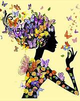 Раскраски по номерам 40×50 см. Девушка с бабочками