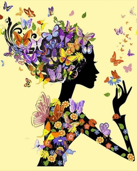 Картини по номерах 40×50 см. Девушка с бабочками, фото 1