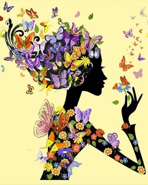 Раскраски для взрослых 40×50 см. Девушка с бабочками, фото 1