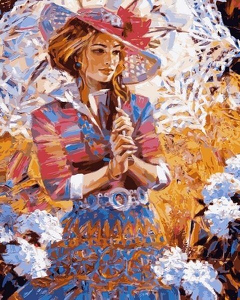 Раскраски по номерам 40×50 см. Девушка с ажурным зонтиком ...