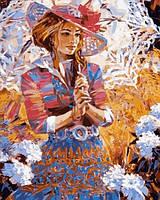 Раскраски для взрослых 40×50 см. Девушка с ажурным зонтиком Художник Алексей Лашкевич, фото 1