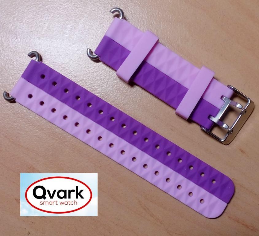 Ремешок силиконовый двухцветный (розовый с фиолетовым) Q60 Q70 Q80 Q90 Q100 Q100s Q101 Q750., фото 1