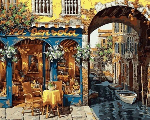 Рисование по номерам 40×50 см. Кафе с видом на канал Художник Виктор Швайко