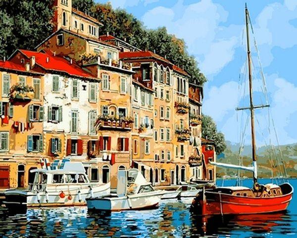 Картины по номерам на холсте 40×50 см. Красная лодка Художник Гвидо Борелли