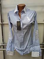Стильная женская рубашка (реплика) Polo ralph lauren голубого цвета