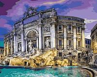 Картины раскраски по номерам 40×50 см. Фонтан де Треви в Риме Италия