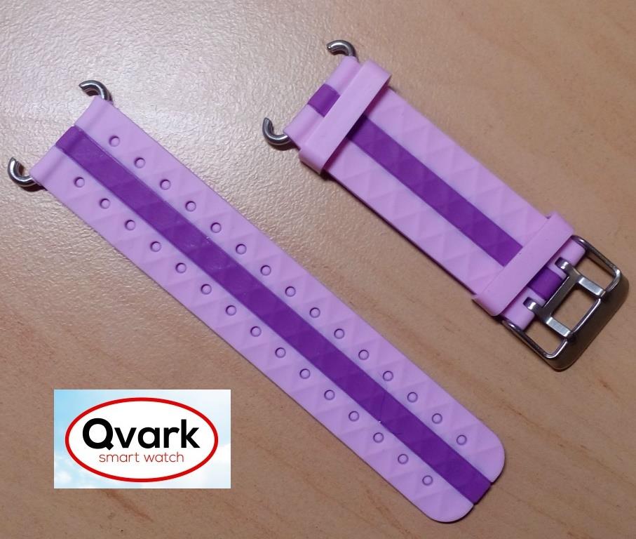 Ремешок силиконовый двухцветный (розовый с полосой) Q60 Q70 Q80 Q90 Q100 Q100s Q101 Q750., фото 1
