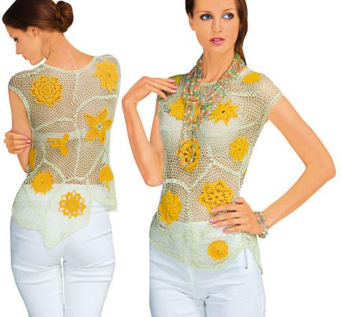 Блуза серо-желтая из соединенных сеткой  плотных мотивов
