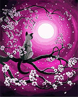 Картини по номерах 40×50 см. Луна и Кот Художник Лаура Айверсон , фото 1