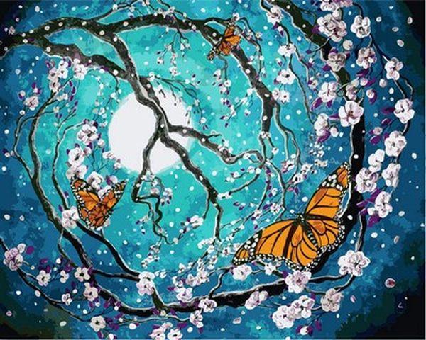 Раскраски для взрослых 40×50 см. Бабочки на цветущей вишне ...