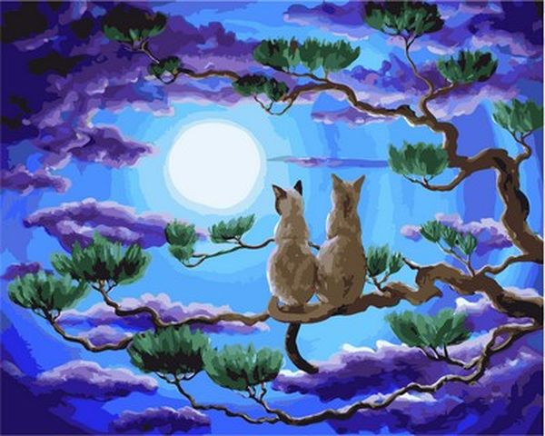 Картини по номерах 40×50 см. Пара в верхушках деревьев Художник Лаура Айверсон