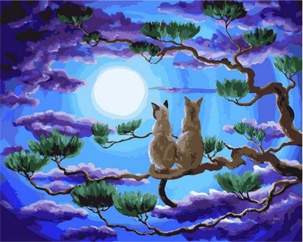 Раскраски для взрослых 40×50 см. Пара в верхушках деревьев ...