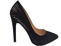Туфли женские чёрный замш