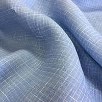Лён голубой сорочечный в клеточку, ширина 150 см