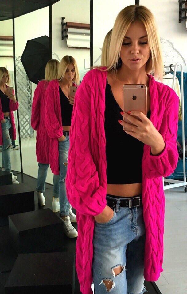 женский модный вязаный кардиган косичка цена 465 грн купить в