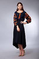 """Женская вышиванка """"Волшебная птица"""", синий лен, оранжевая вышивка, фото 1"""