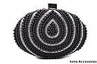 Модельная женская сумка клатч с жемчугом черная, эко-кожа, фото 2