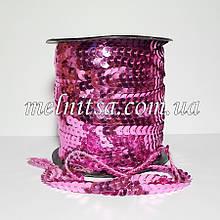 Паєтки на нитці, колір рожевий, 6 мм, плоскі