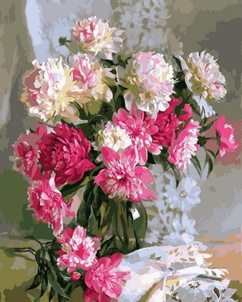 Картина по номерам 40×50 см. Бело-розовые пионы