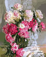 Картины по номерам 40×50 см. Бело-розовые пионы