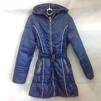 Пальто синее с поясом оптом