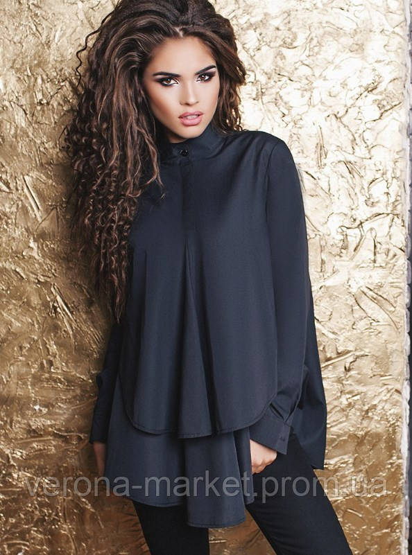 01f4b36ed29 Асимметричная женская рубашка расклешенного фасона на пуговицах с длинным  рукавом хлопок