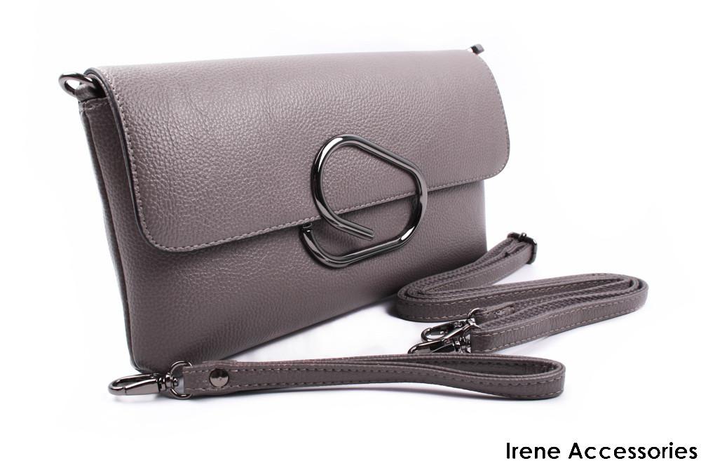 Элегантная женская сумочка клатч LANKONGQUE цвет серый, эко-кожа