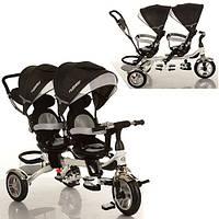 Детский трехколесный велосипед двухместный Turbotrike Черный OR
