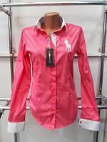 Красивая женская рубашка (реплика) Polo ralph lauren розового цвета