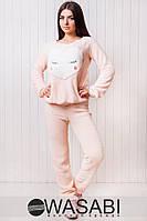 Женский спортивный костюм махровый с логотипом сердце махра с вышивкой (апликацией)