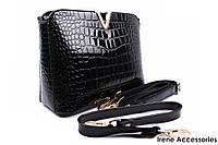Стильная женская сумка LANKONGQUE черная, эко-лак