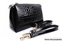 Элегантная сумка LANKONGQUE черная, прямоугольная, эко-лак