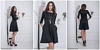 Платье с юбкой клеш и карманами BLACK