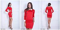 Прямое платье с белым воротником и манжетами RED