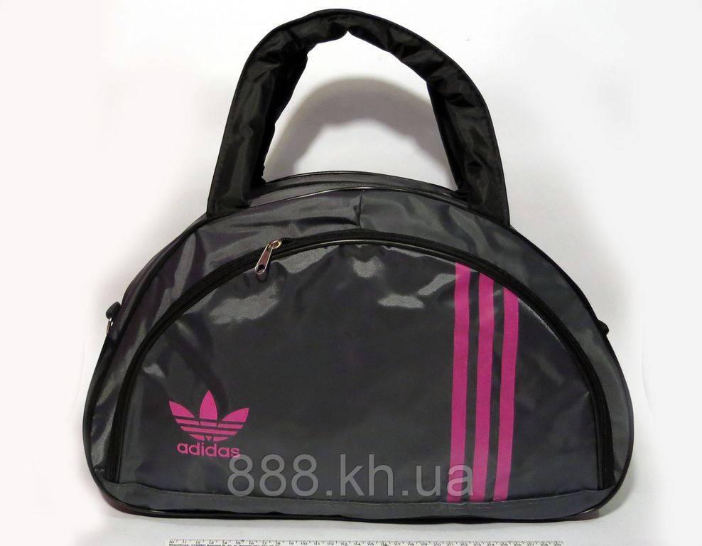 Спортивная женска сумка Adidas, серый/розовый  реплика