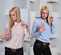 Женская светлая  рубашка с воротником