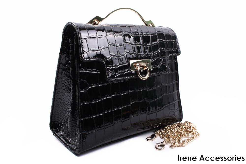 Стильная лаковая маленькая сумочка ShengKasiLu черная, эко-кожа