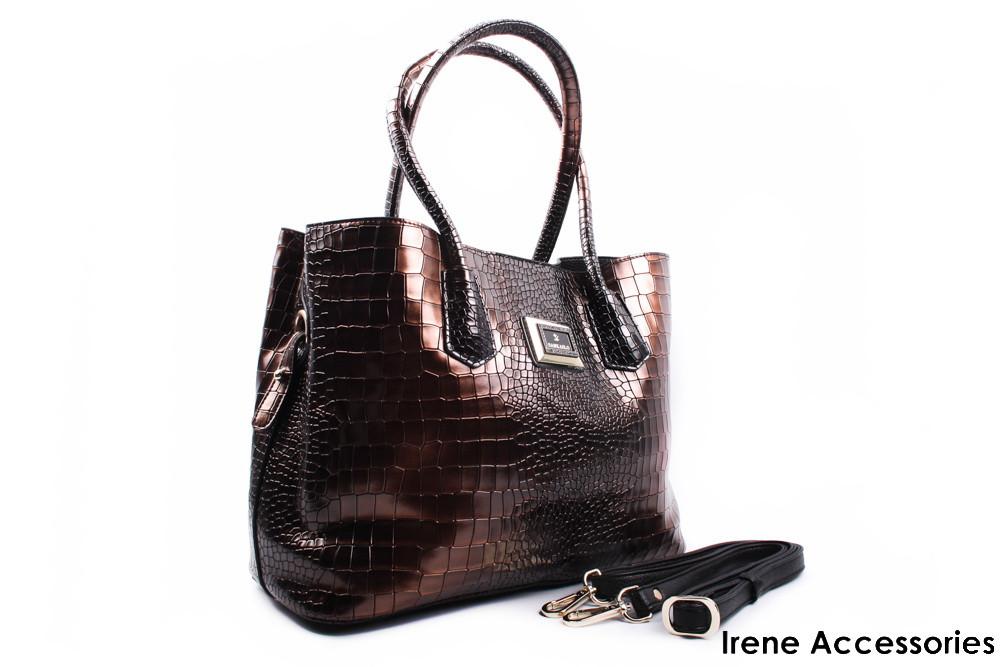 8a2b9207a708 Модельная женская сумка ShengKasiLu с косметичкой цвет коричневый,  эко-кожа, большая - Стильная