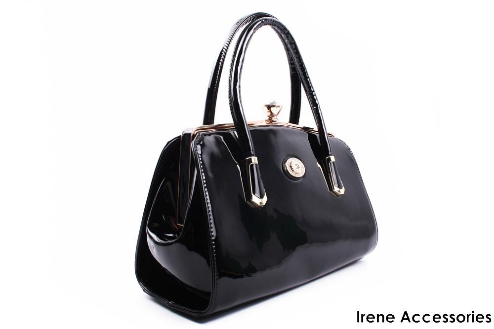 Элегантная черная сумка ShengKasiLu лаковая, эко-кожа