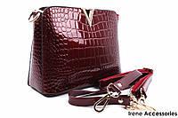 Стильная женская сумка LANKONGQUE цвет бордо, эко-лак
