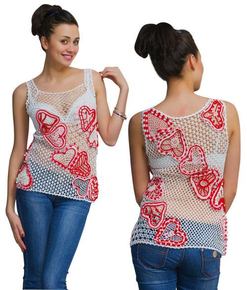 Блуза бело-красная  из соединенных сеткой  сердечек