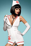 Эротический костюм Медсестры Emergency dress XXL платье, трусики, шапочка, перчатки и стетоскоп в комплекте